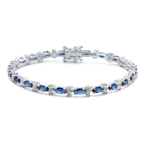 Collette Z Sterling Silver Clear Round and Colored Marquise Cubic Zirconia Tennis Bracelet