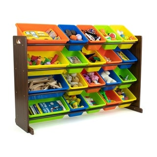 Humble Crew Extra Large 20 Bin Toy Storage Organizer, Walnut/Multi