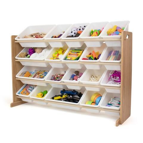 Humble Crew Extra Large 20 Bin Toy Storage Organizer, Natural/White