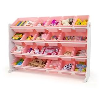 Humble Crew Extra Large 20 Bin Toy Storage Organizer, White/Pink