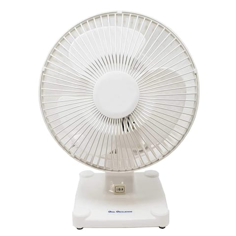 "Energy Efficient Oval Oscillating Quiet & Powerful 2-Speed Desk Table Fan W/Adjustable Air Circulator (8"" Desk Fan), White"