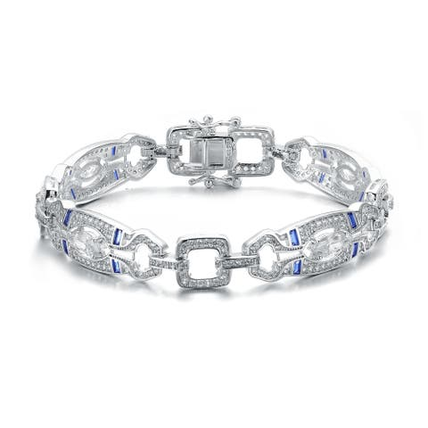 Collette Z Sterling Silver Clear Round and Colored Baguette Cubic Zirconia Link Bracelet
