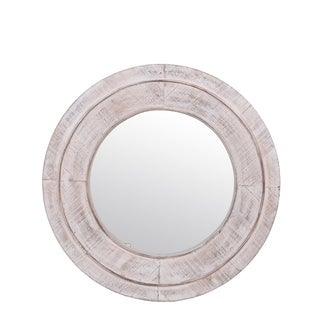Privilege Round White Wash Wood Wall Mirror. 24x2x24 M: 15.74x15.74