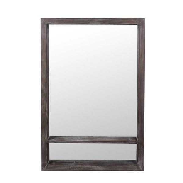 Privilege Rectangular Gray Wash Wood Wall Mirror. 24x4.5x35.5 M: 21.65x33.26