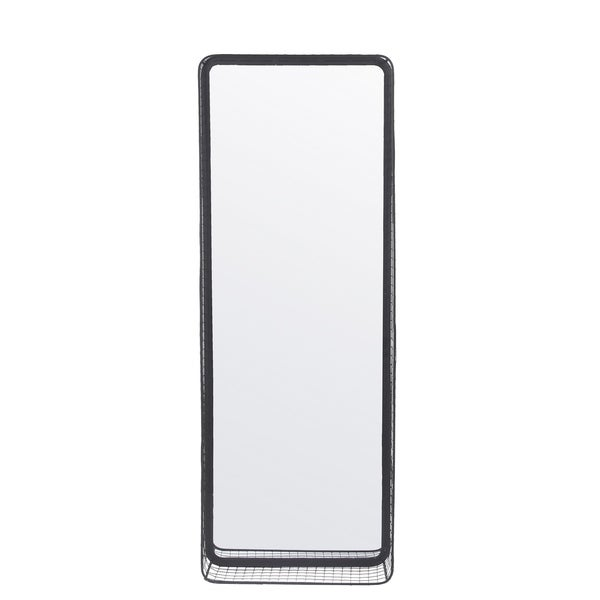 Privilege Metal Wall Mirror with Mesh Shelf. 16x5x44