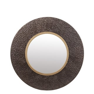 Privilege Large Hammered Bronze and Gold Metal Wall Mirror. 31.5x3x31.5