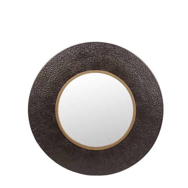Privilege Small Hammered Bronze and Gold Metal Wall Mirror. 31.5x3x31.5