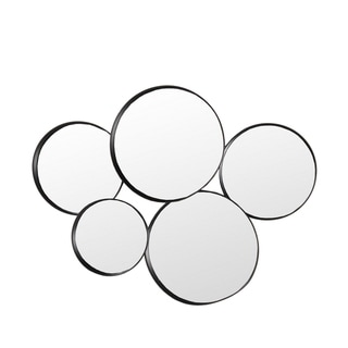 Privilege 5-Mirror Round Dark Silver Metal Wall Décor. 30x24x4.5