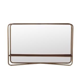 Privilege Dark Gold Metal Rectangular Mirror with Shelf. 28x18x7