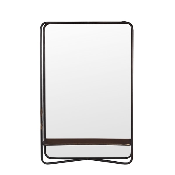 Privilege Dark Silver Metal Rectangular Mirror with Shelf. 18x28x6.5