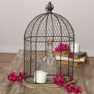 Metal/wooden cage décor