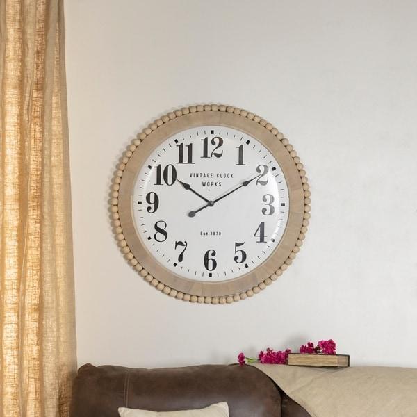 Beaded wood and metal clock