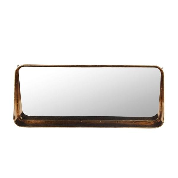 Privilege Copper Metal Wall Mirror with Shelf. 39.5x6x16