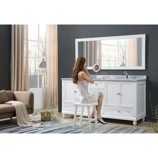 Classic 72 In. Bath and Makeup Hybrid Vanity in White with Carrara White Marble and 1 Large Mirror