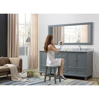 Link to Classic 72 In. Bath and Makeup Hybrid Vanity in gray with Marble vanity top in Carrara White and 1 Large Mirror Similar Items in Bathroom Vanities