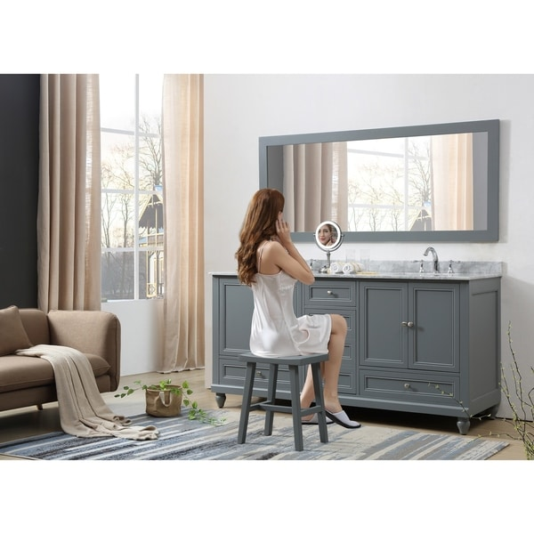 Classic 72 In. Bath and Makeup Hybrid Vanity in gray with Marble vanity top in Carrara White and 1 Large Mirror