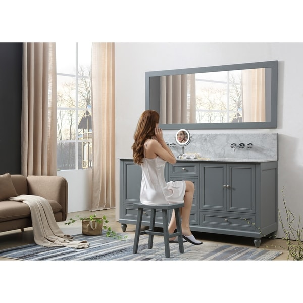 Classic Premium 72 In. Bath and Makeup Hybrid Vanity in gray with Carrara White Marble and 1 Large Mirror