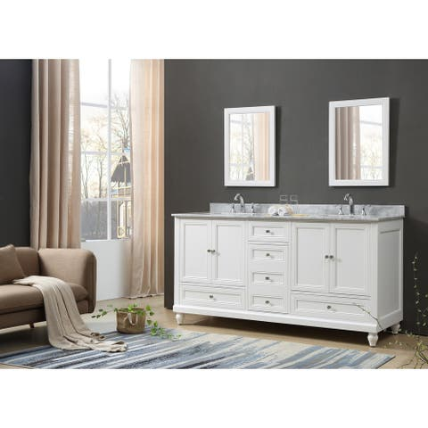 Classic 72 In. Vanity In White With Carrara White Marble