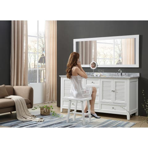 Shutter 72 In. Bath and Makeup Hybrid Vanity in White with Carrara White Marble and 1 Large Mirror