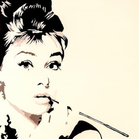 CANVAS Just Smoking Audrey Hepburn by PopArtQueen
