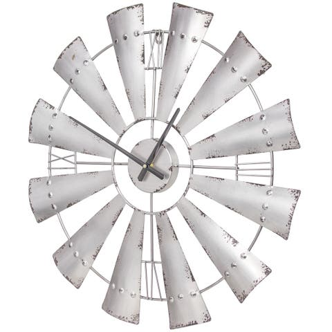 "Metal Windmill Oversized Vintage Wall Clock 24"" (Silver)"