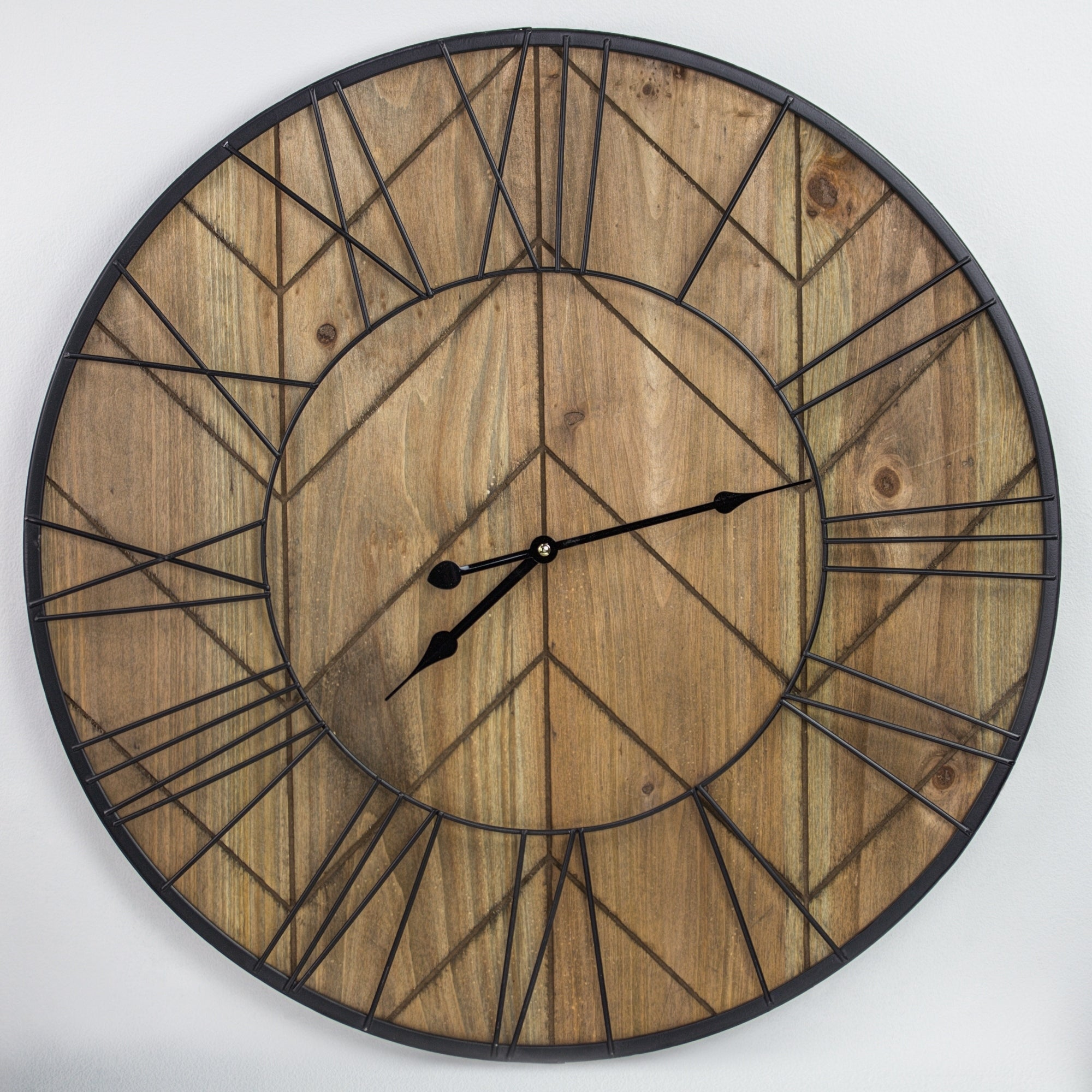 Rustic Wood And Metal Oversized Wall Clock 24 On Sale Overstock 29141438