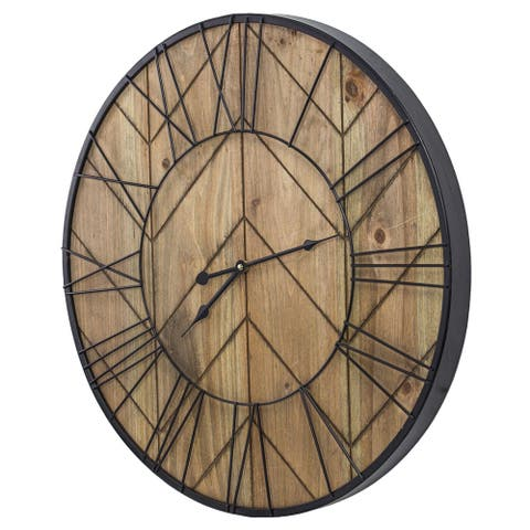 Rustic Wood and Metal Oversized Wall Clock 24""