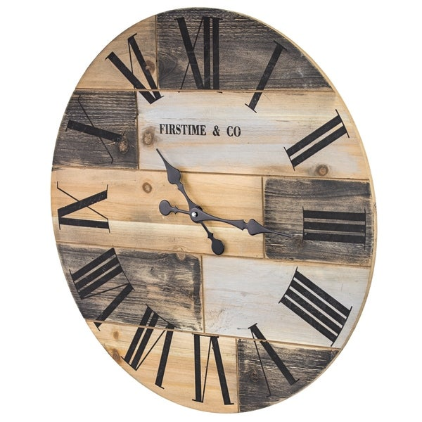 """Firstime & Co Oversized Wood Vintage Wall Clock 24"""""""