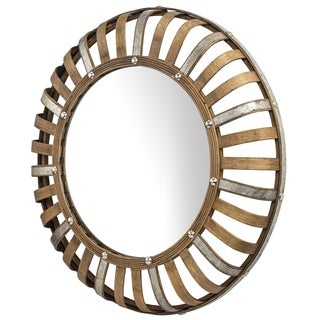 """Bamboo and Metal Rustic Convex Wall Mirror - Round (24"""")"""