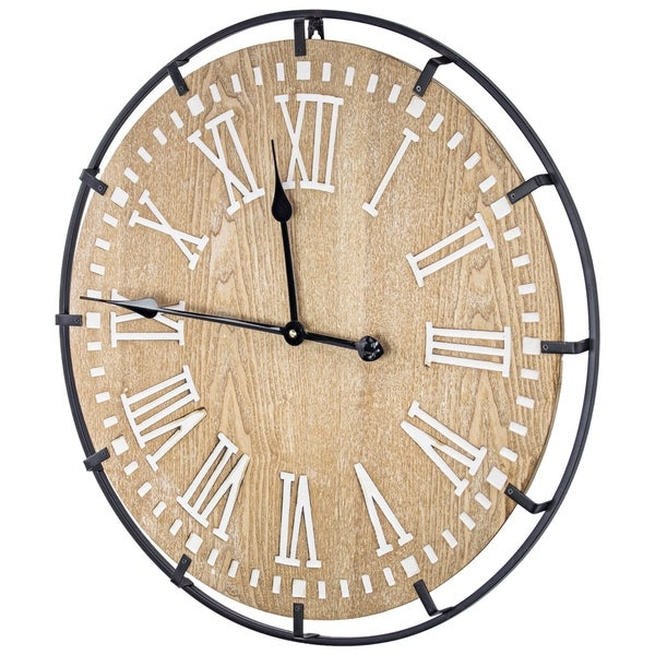 Rustic Whitewashed Wood and Metal Oversized Wall Clock 24""