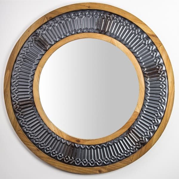 Shop Rustic Wood And Metal Framed Wall Mirror Round 31 On Sale Overstock 29141450