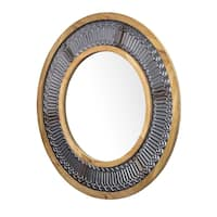 """Rustic Wood and Metal Framed Wall Mirror - Round  (31"""")"""