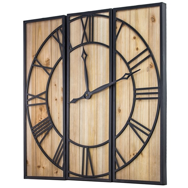 """Oversized Wood and Metal 3 Piece Wall Clock (30"""" x 30"""")"""