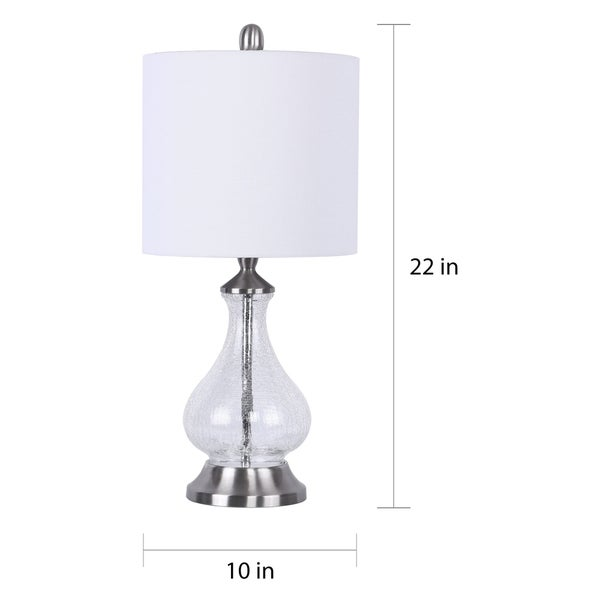 Porch & Den Kirsten Clear Crackle Glass 22-inch Accent Lamp with White Linen Drum Shade