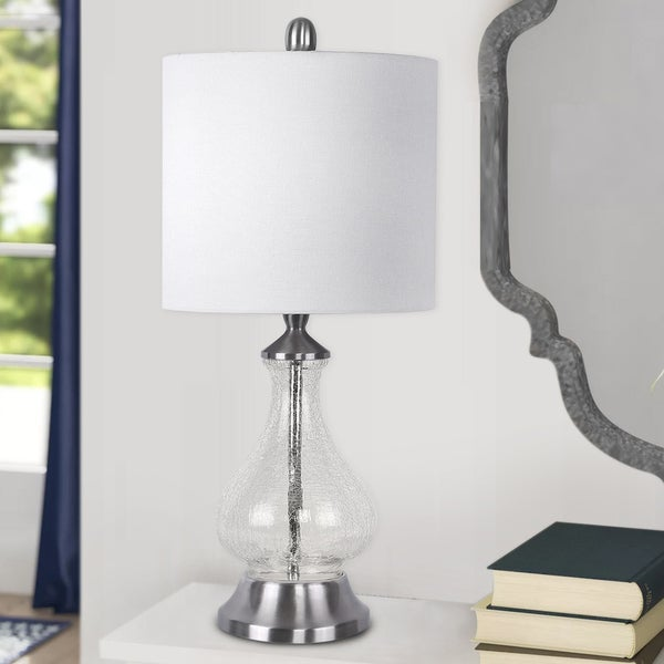 Porch & Den Kirsten Clear Crackle Glass 22-inch Accent Lamp with White Linen Drum Shade. Opens flyout.