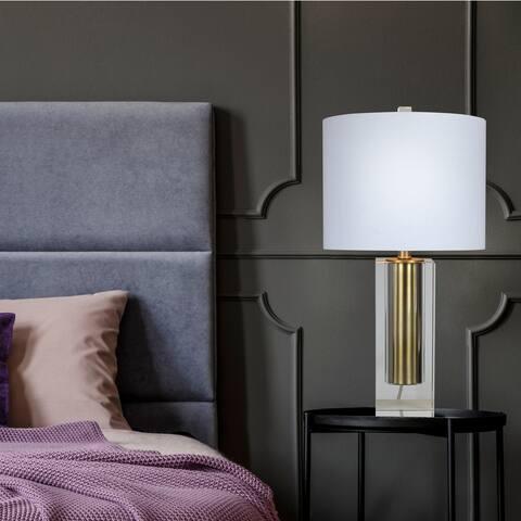 Carson Carrington Sattna Clear Crystal Vase & Plated Gold Insert Table Lamp