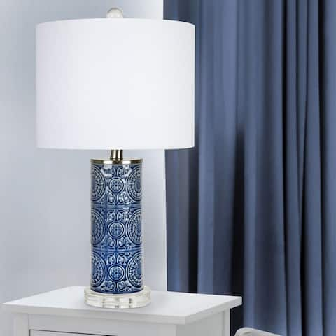 The Curated Nomad 23-inch Boflora Blue Ceramic Table Lamp
