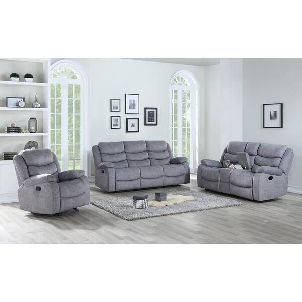 Granada Grey Dual Recliner Sofa With Footrest
