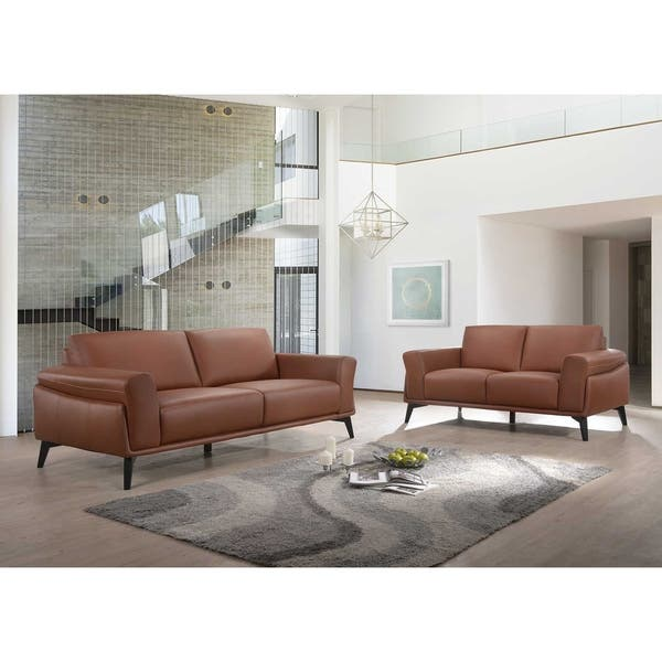 Como Terracotta Leather Sofa On