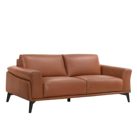 Como Terracotta Leather Sofa