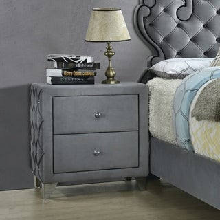 Gracewood Hollow Kapadia Grey and Silvertone 2-drawer Button-tufted Nightstand with Faux Crystal Pulls