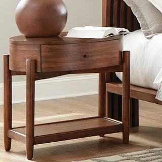 Carson Carrington Vilhelmina Teak Oval Wood Top Nightstand