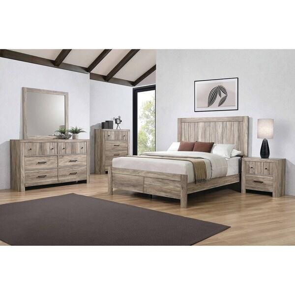 Carbon Loft Wyverna Rustic Oak 4-piece Bedroom Set
