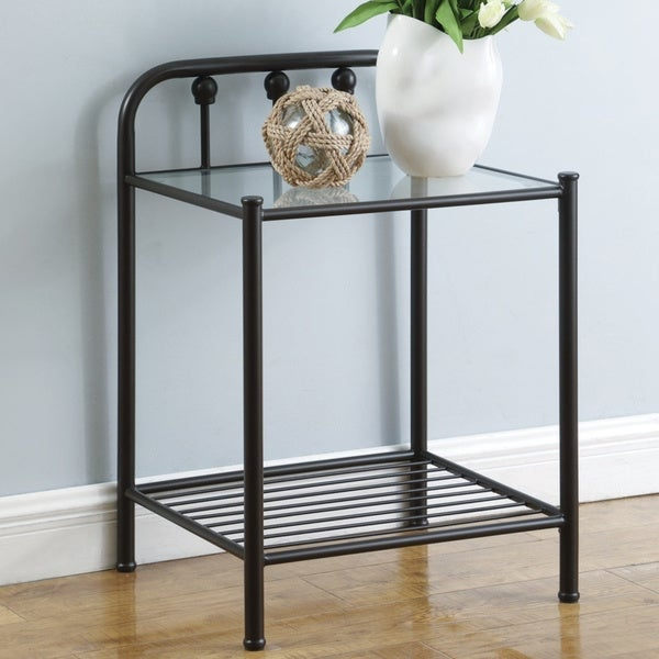 Porch & Den Catherine Bronze and Clear Glass Nightstand