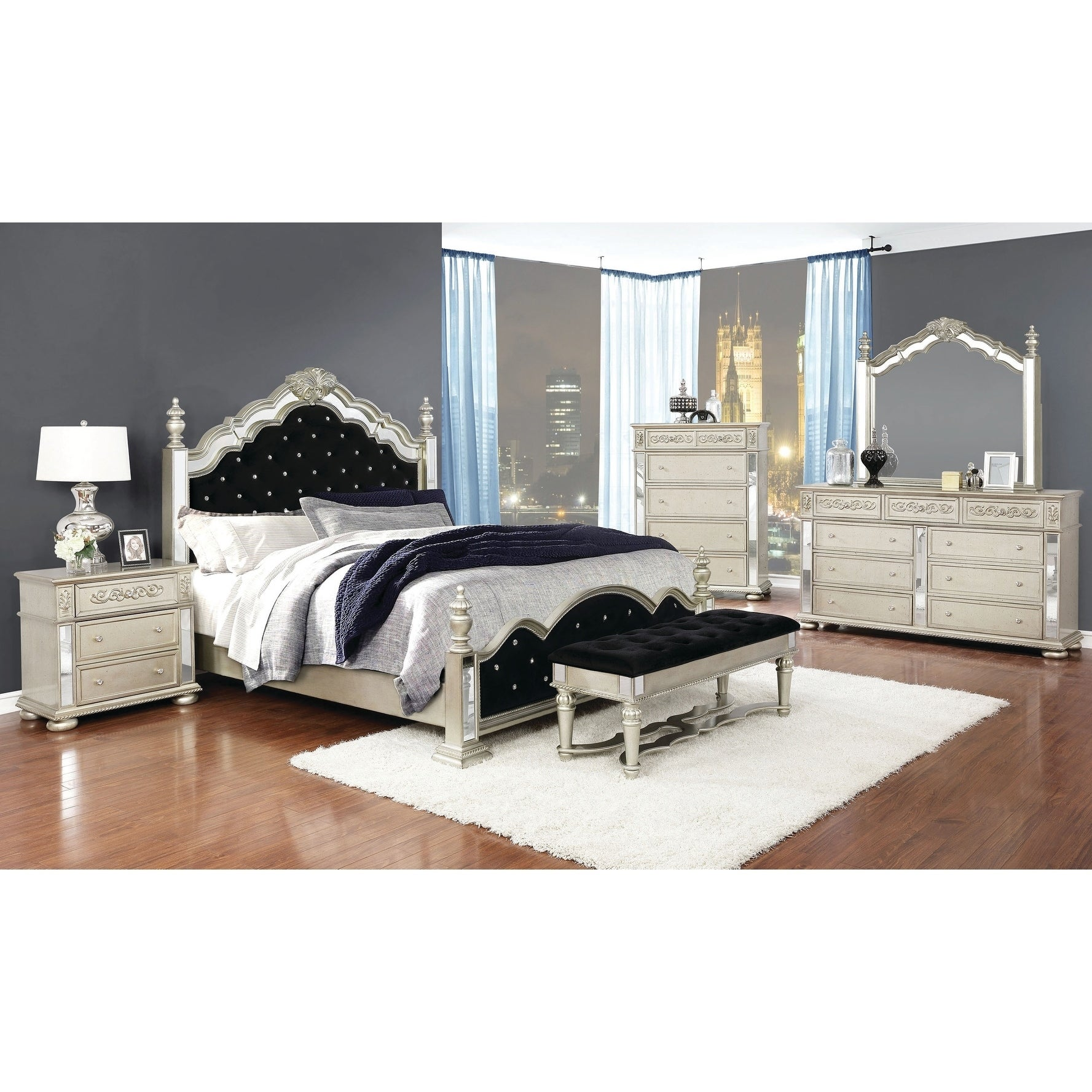 Silver Orchid Bunny Metallic Platinum And Black 4 Piece Bedroom Set Overstock 29141561