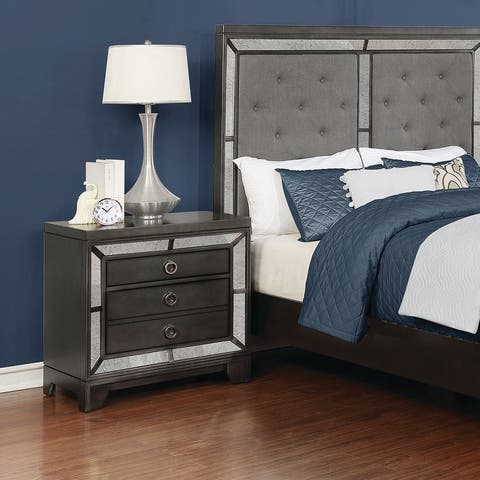 Silver Orchid Campbell Caviar and Chrome 3-drawer Nightstand