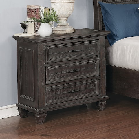 The Gray Barn Mansfield Park Weathered Carbon 3-drawer Nightstand
