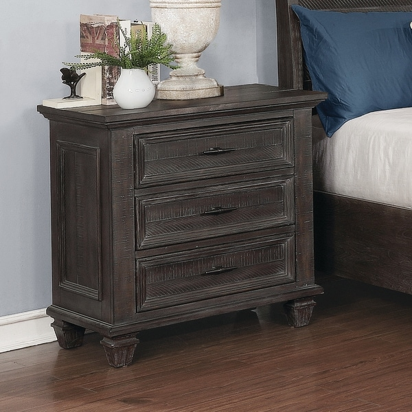The Gray Barn Mansfield Park Weathered Carbon 3-drawer Nightstand. Opens flyout.