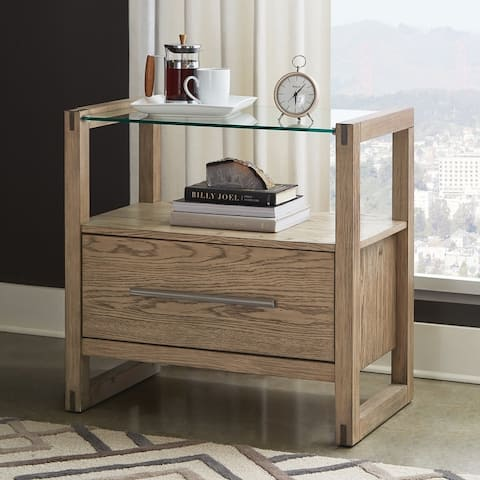 Strick & Bolton Ingram Grey Oak/ Glass Top Nightstand