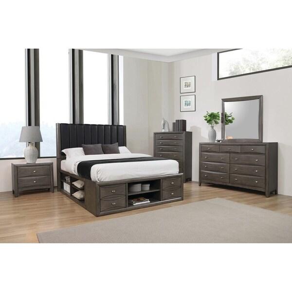 Phoenix Coco Grey and Black 5-Piece Bedroom Set